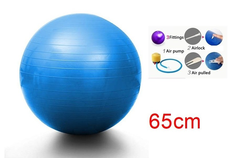 Exercise Fitness Ball Yoga Gym 65cm Blue 4in1