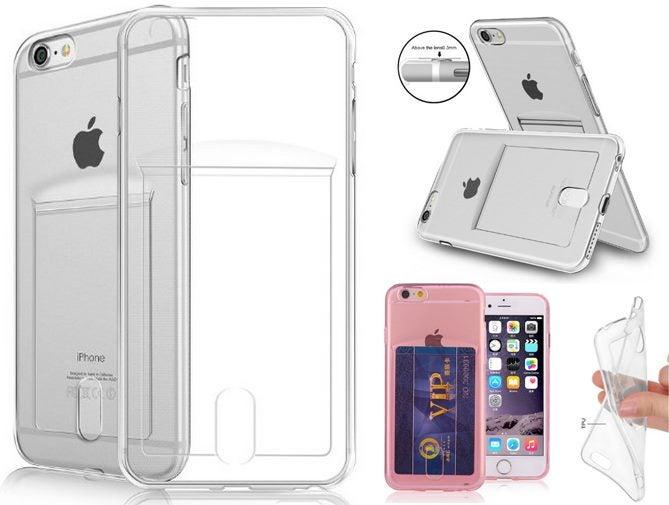 sports shoes 5cc9c fb625 iPhone 6 6s Plus Case Clear Soft TPU Card holder