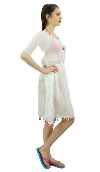 3c4d345c19 Bimba Sheer White Kimono Kaftan Beach Cover-Up For Womens With tassel |  Trade Me