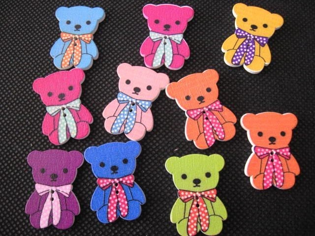 Buttons 10 Teddy Bear Shapes