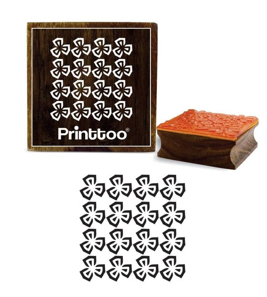 Floral Craft Textile Square Wooden Rubber Stamp Scrap Booking 5 X 5
