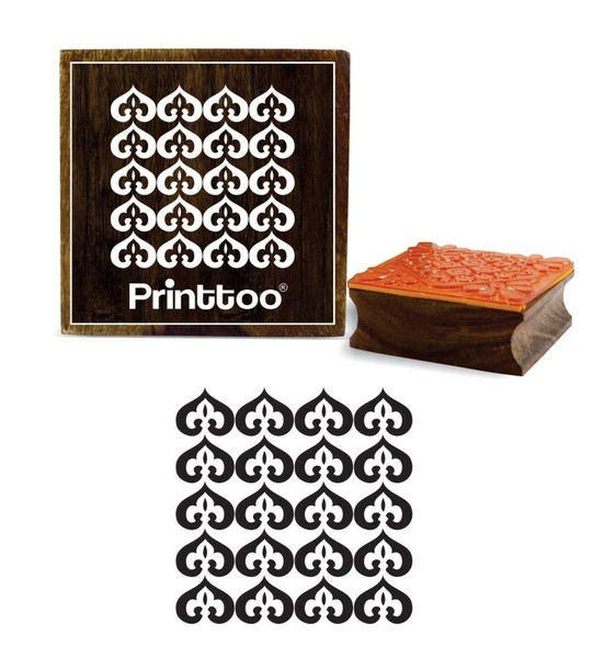 Damask Brown Wooden Square Rubber Stamp Craft Textile Stamps 2 X Inches