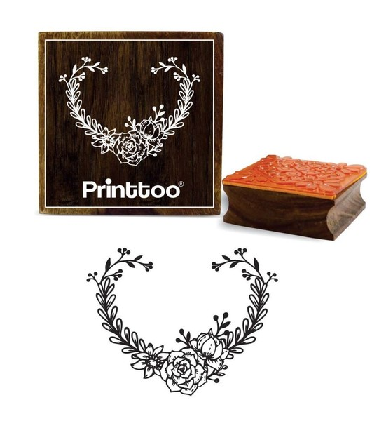 Square Floral Brown Wooden Rubber Stamp Crafting Scrap Booking 3 X Inches