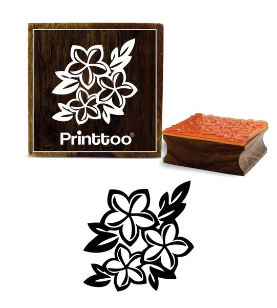 eb9a797072 Wooden Floral Rubber Stamp Square Scrap-booking Craft Textile Stamp-3 x 3  Inches