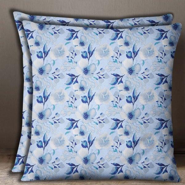 S4Sassy Cotton Poplin 2 Pcs Square Cushion Cover Floral Print Pillow Case