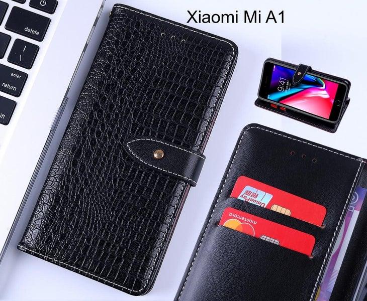 big sale d4aa4 bffc8 Xiaomi Mi A1 case leather wallet case croco style