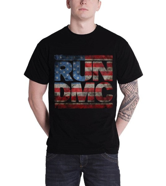 791acadd Run DMC T Shirt Retro Americana Distressed Band Logo Official Mens New  Black | Trade Me