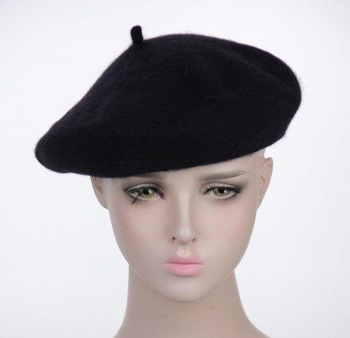 Beret - 100% Wool (Black)  704db0d5106