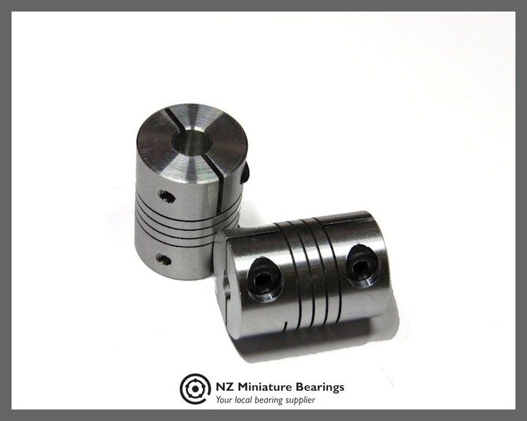 FLexible Motor Coupler 5 - 6 mm, Clasp 5 - 6, NZ Miniature Bearings