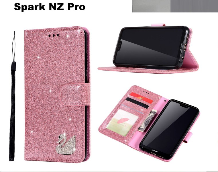 promo code cf331 339d8 Spark NZ Pro case luxury bling glitter leather embedded rhinstone swan pink