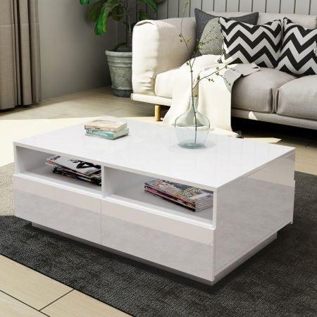 Coffee Table High Gloss Storage White Trade Me