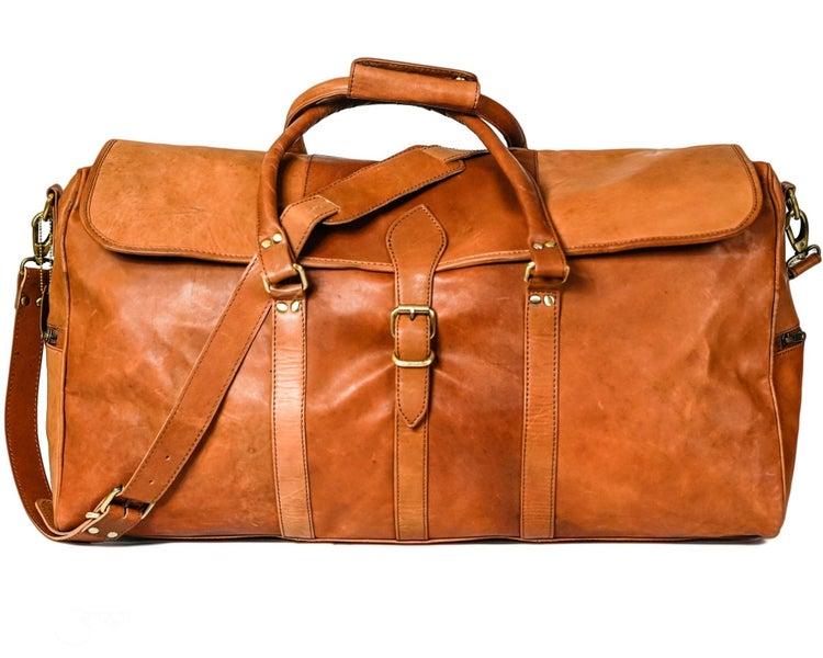 Vintage Leather Duffle Bag Overnight Bag Leather Weekender Travel Bag -  Denver  4a8070052f7a2