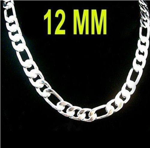 566cb728c10cf4 LARGE SILVER CURB FIGARO CHAIN 12 MM WIDE 51 CM | Trade Me