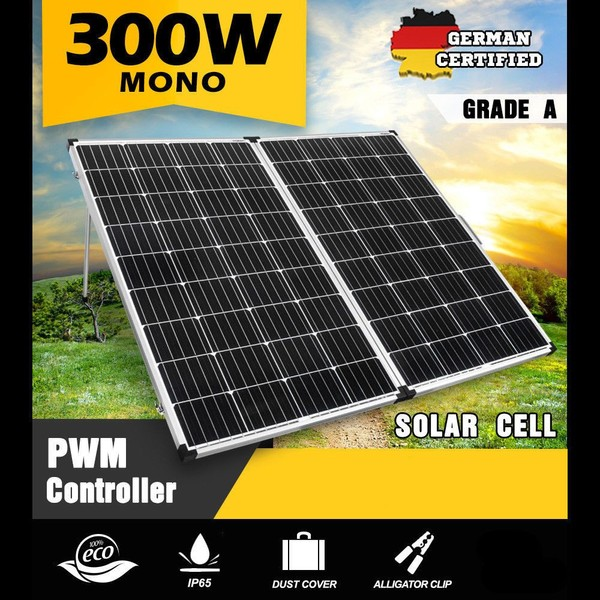 12V 300W Mono Folding Solar Panel Kit Caravan Camping Power Charging