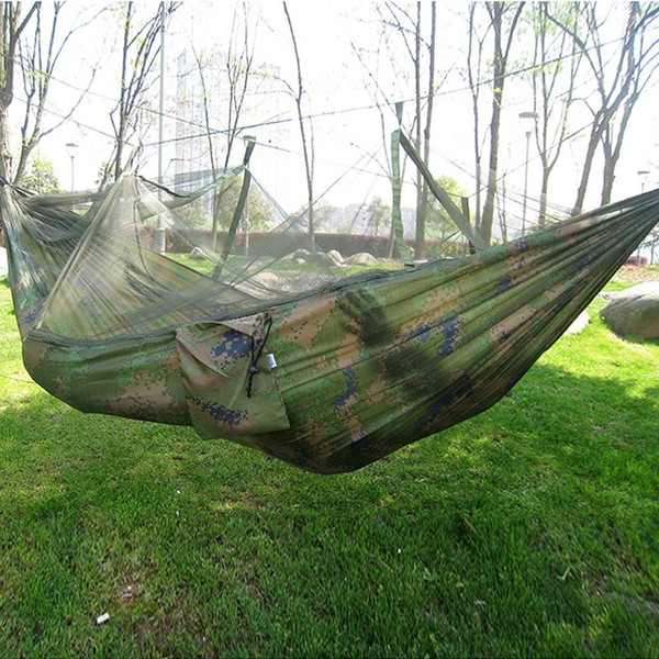 Sports & Entertainment Well-Educated Portable High Strength Parachute Fabric Camping Hammock Hanging Bed With Mosquito Net Sleeping Hammock