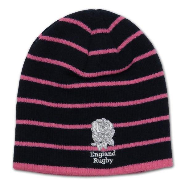 RFU england rugby ladies stripe beanie hat  navy pink   53a626d4038