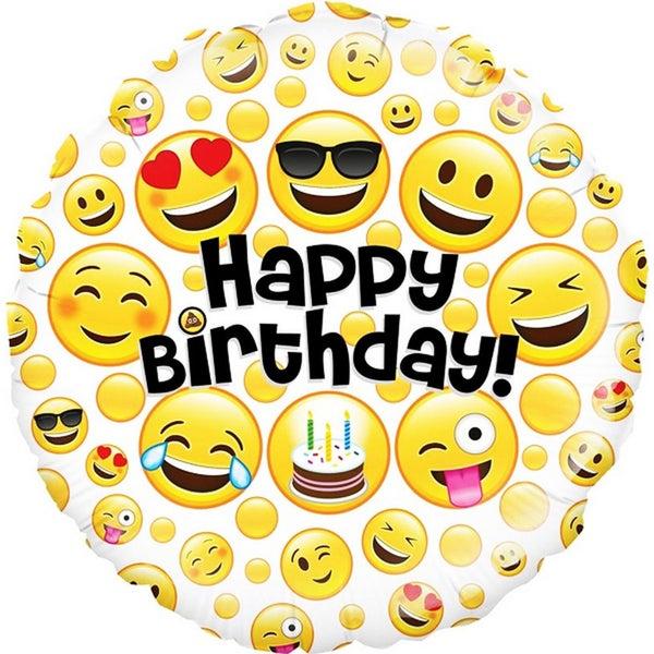 Oaktree 18 Inch Emoji Birthday Circle Foil Balloon