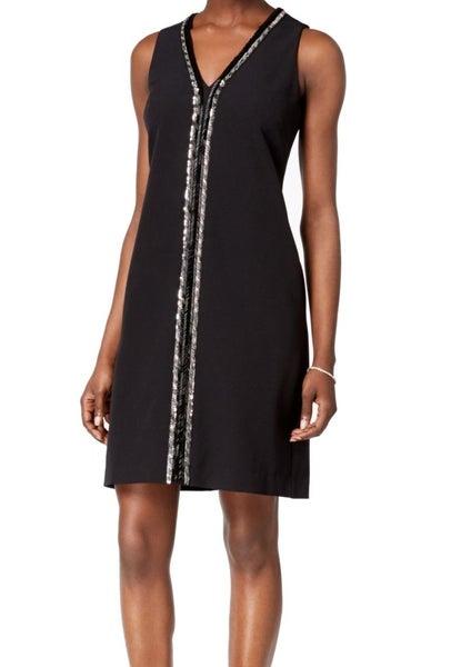 b1c1a2ae74 Donna Ricco NEW Black Deep Women s US 4 Beaded V-Neck Shift Dress ...