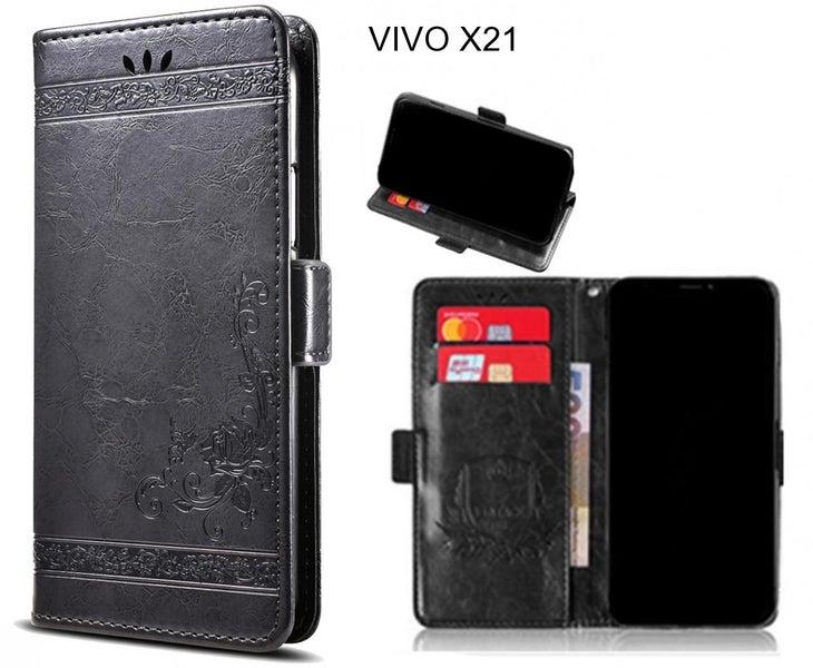 buy popular 36433 bdf6d VIVO X21 Case retro leather wallet case