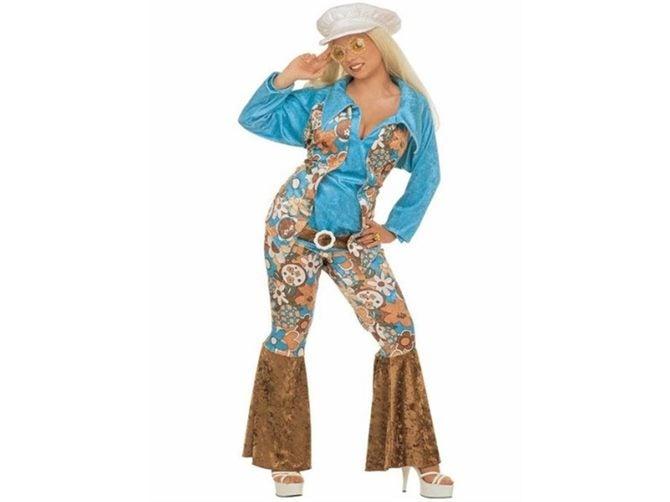 XL Blue Ladies Hippie Costume - Woman Womens Velvetet Outfit 60s 70s Fancy  Dre  28a4a6e45b