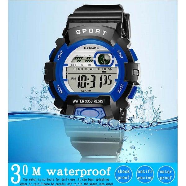 d354c6384 Waterproof Sport Digital Alarm Watch Kids Boys Girl Light LED Child Wrist  Watch
