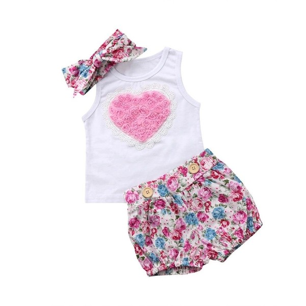 c6d4cb4804b9 Baby girl body vest floral romper outfit with matching headband size 18-24  month