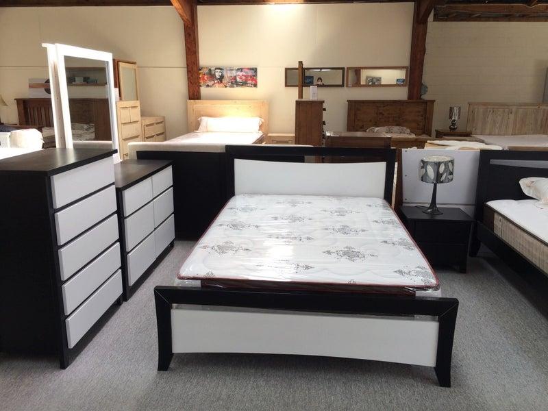 5PCS Queen Size Bedroom Suite Black and White Colour Solid NZ Pine Wood  (Ellena)