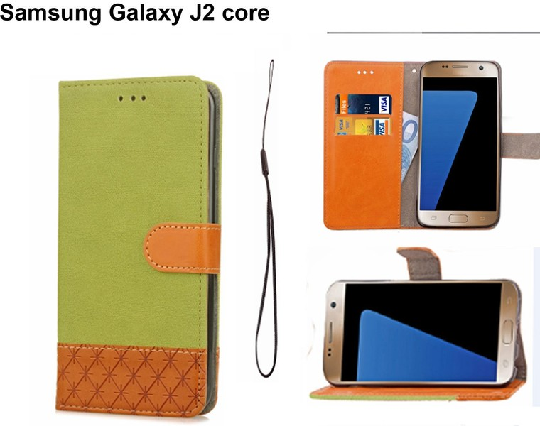 Samsung galaxy J2 core case wallet denim leather combined style green