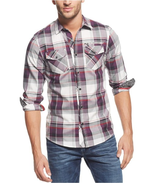2270ed01fce1 GUESS Mens Plaid Button Up Shirt   Trade Me