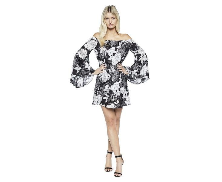 0ae6b77961b BARDOT Bardot Women s Britt Dress Black Floral Cocktail Party Dress ...