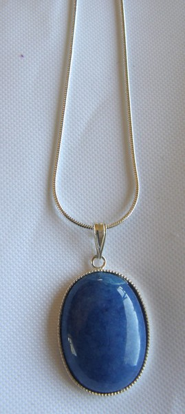OVAL GEMSTONE PENDANT WITH CHAINS - 25 MM - LAPIS BLUE