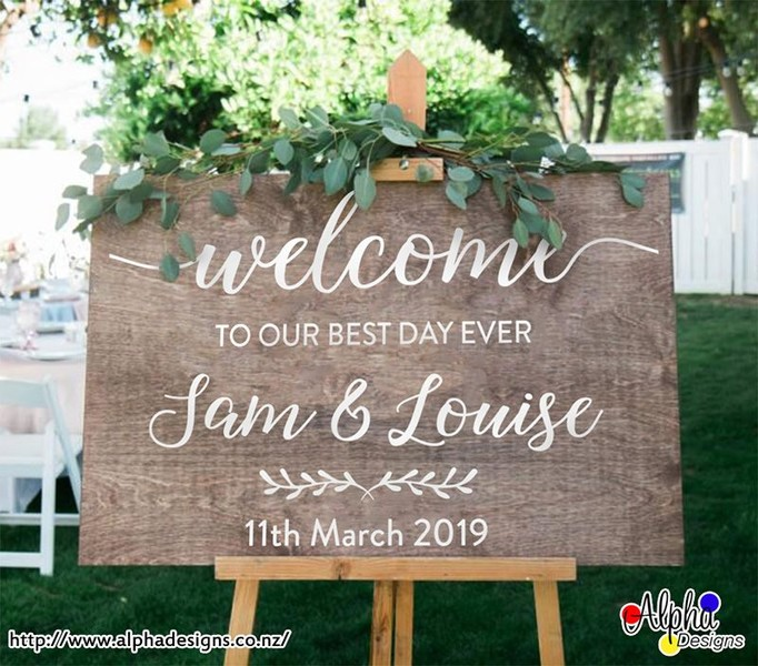 Wedding Welcome Sign.Wedding Welcome Sign Personalised Names And Date Decal Stickers For Wood Board