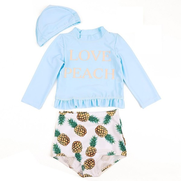 f2c7998d8b447 Fashion Baby Girls Swimsuit Long Sleeve Swimwear Children Bathing Suit  Beachwear