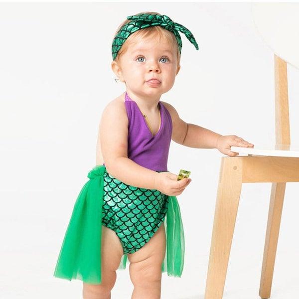 3be4e1b65b Baby Girls Mermaid Swimsuit With Headband Big Bathing Suit Lovely Girls  Swimwear | Trade Me