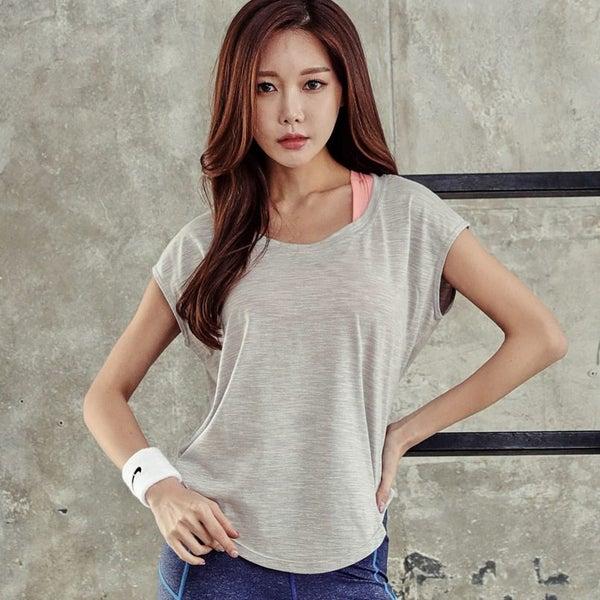 Summer Women Sports Yoga T Shirt Fitness Gym Training Tops