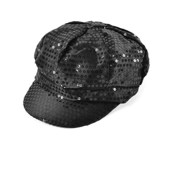 Womens Sequin Cap 80s Style Black  ff48d1161ed
