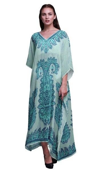 59b1bbedf340 Phagun Floral Paisley Ladies Plus Size Kaftan Summer Wear Coverup Kimono  Caftan