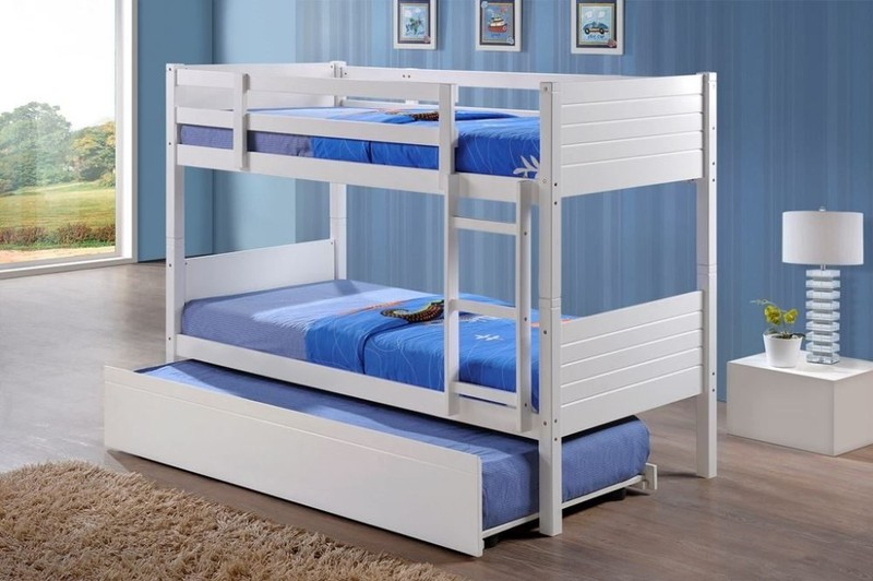 White Single Bunk Beds With Single Trundle Bed Frame Trade Me