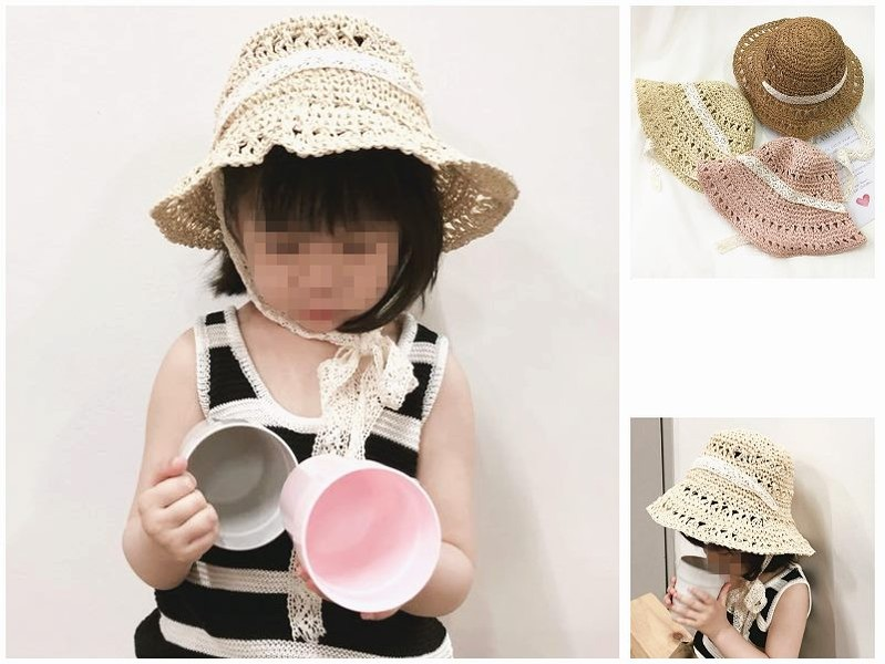bdc8ff00aa1d2 Children Kids Sun Straw Hat Wide Large Brim Floppy Derby Summer Beach Cap