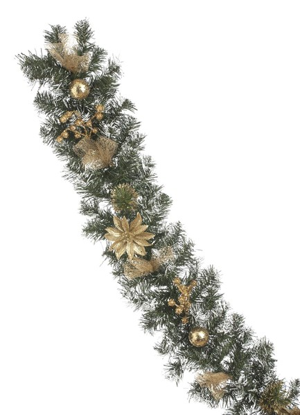 Festive Productions 180cm Gold Glitter Christmas Poinsettia Frosted Garland