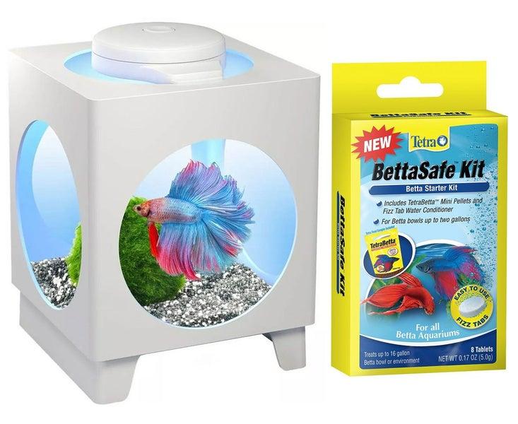 Fish & Aquariums Pet Supplies Tetra Betta Projector Aquarium Tank White With Led Light For Siamese 1.8l