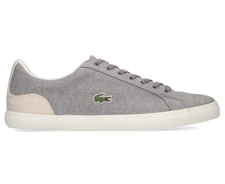 efc8562bf Lacoste Men s Lerond 218 1 Shoe Grey Natural Canvas Sneakers