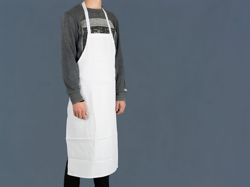 Chef's Kitchen Uniform Full Length Bib Apron - WHITE