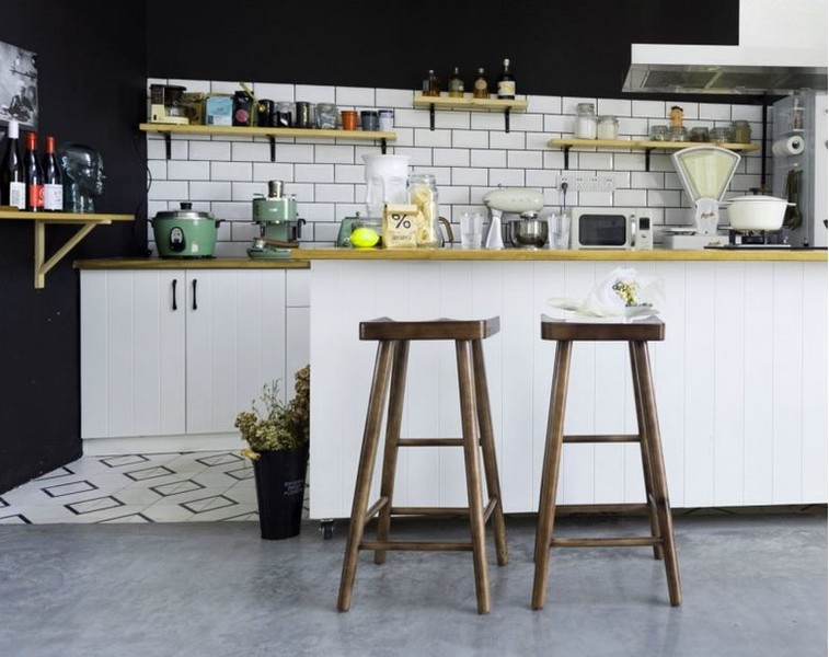 Vintage Retro Industrial Bar Stool Home Kitchen Cafe Pu Bar Stool