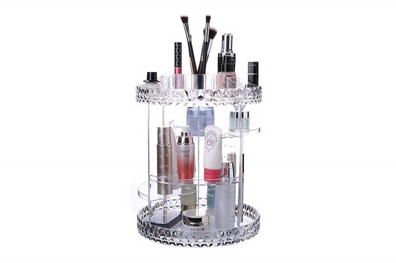 5293c126bfdc 3 Tier Large Cosmetic Storage Make Up Organiser With Adjustable Shelves