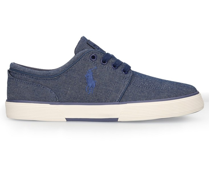 e186fee6e Polo Ralph Lauren Men s Faxon Low Sneaker Indigo Blue Chambray ...