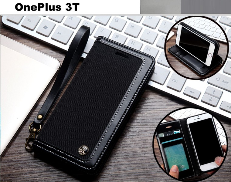 info for 0e003 a12aa OnePlus 3T case wallet denim leather combined style magnet blk
