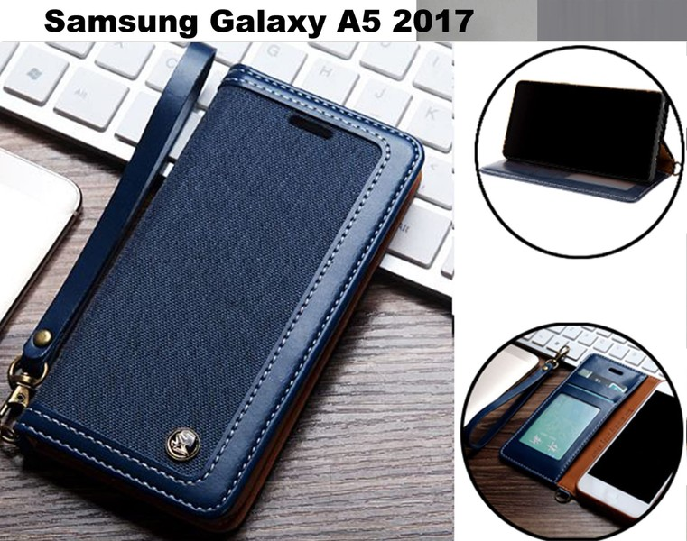 Galaxy a5 2017 case wallet denim leather combined style magnet nvy