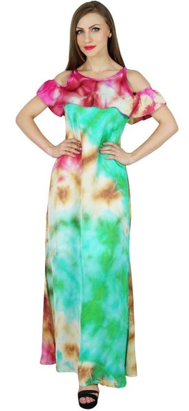 43a3c4ad782d0 Bimba Women Chic Style Cold Shoulder Maxi Dress Tie Dye Holiday Resort  Clothing