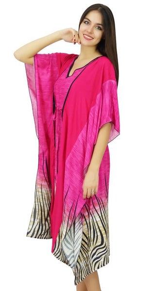 28baa802fd Bimba Womens Latest Kaftan Swimsuit Cover Up Pink Beach Caftan Knee Length  Dress
